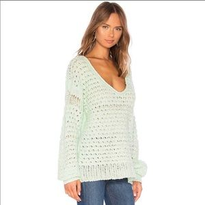 [free people] NEW mint green open knit sweater